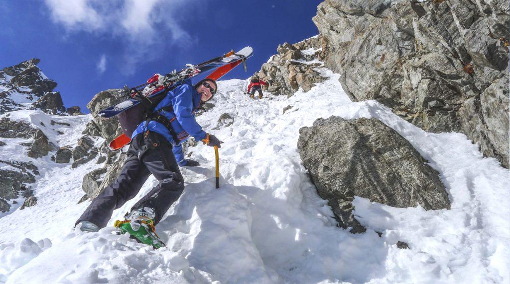 climbing the porta d'es-cha on the albula alps ski tour
