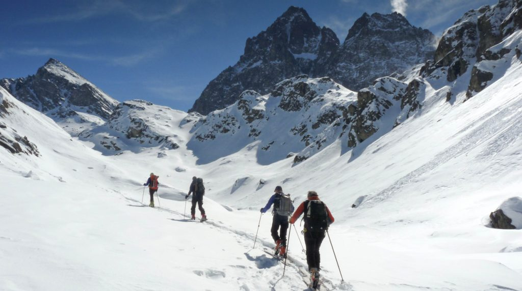 ski touring on the east side of monte viso