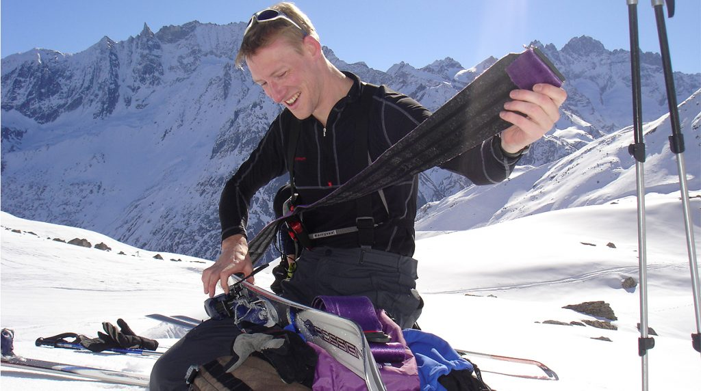 learning skinning skills on a ski touring course