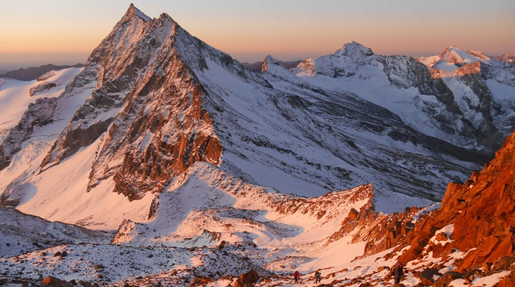 dawn on the Weissmies on a Swiss 4000m peaks mountaineering holiday