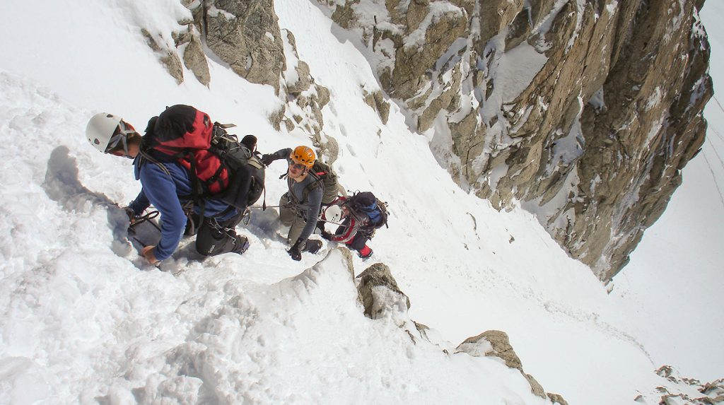 climbing the aiguille du tour on our alpine mountaineering course