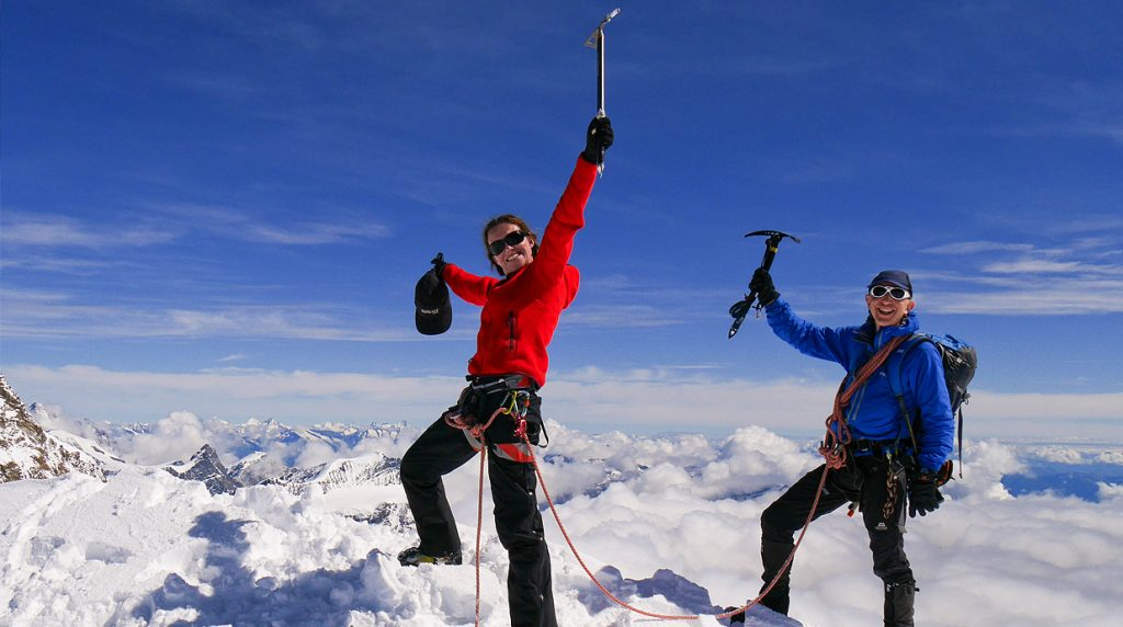 Summit of Zumsteinspitze - Italian 4000m Peaks Climbing Guides