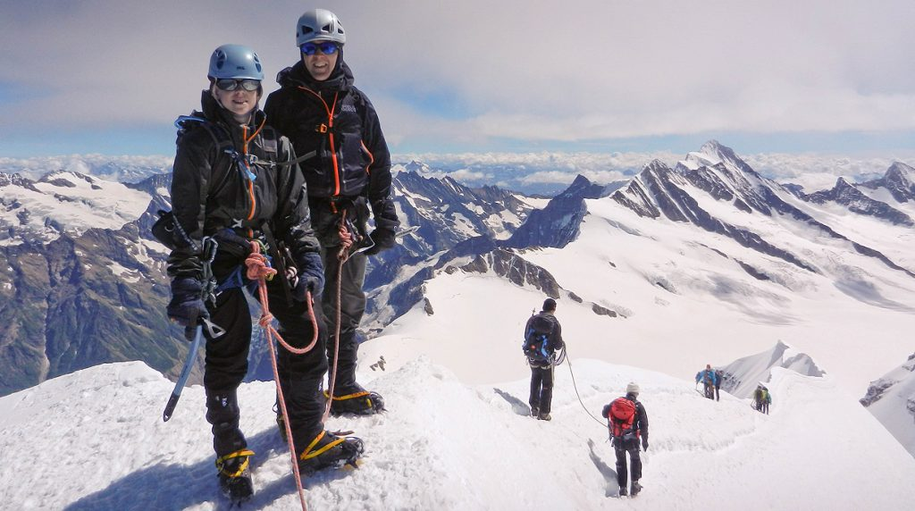 summit of the monch on our bernese oberland 4000m climbing holiday