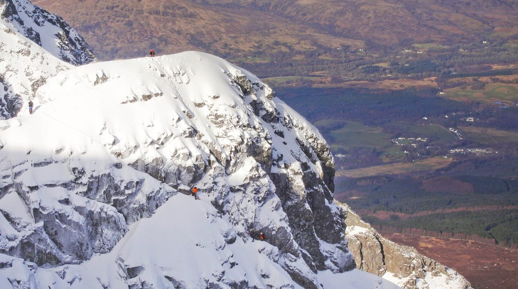 climbing on ben nevis with a ascottish winter mountain guide