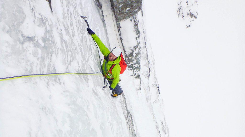 ice climbing on ben nevis on a scottish winter climbing course