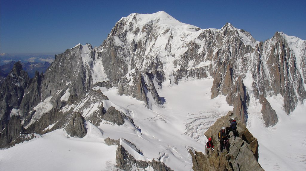 climbing the dent du geant on our technical alpine climbing course in chamonix