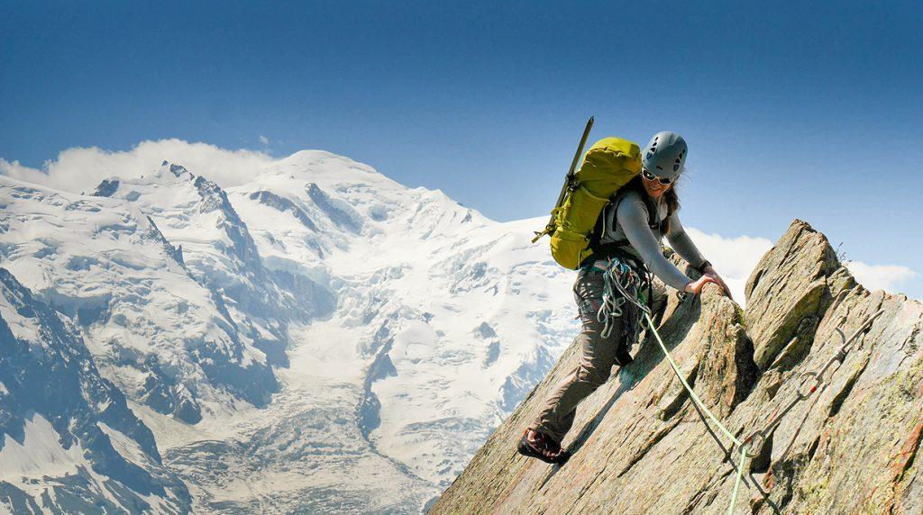 climbing the chapelle de la gliere on our technical alpine climbing course in chamonix