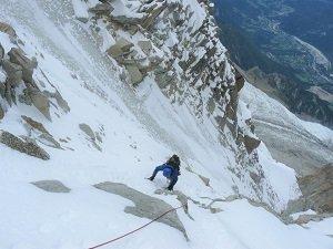 winter alpine climbing in chamonix - vogler couloir aiguille du midi