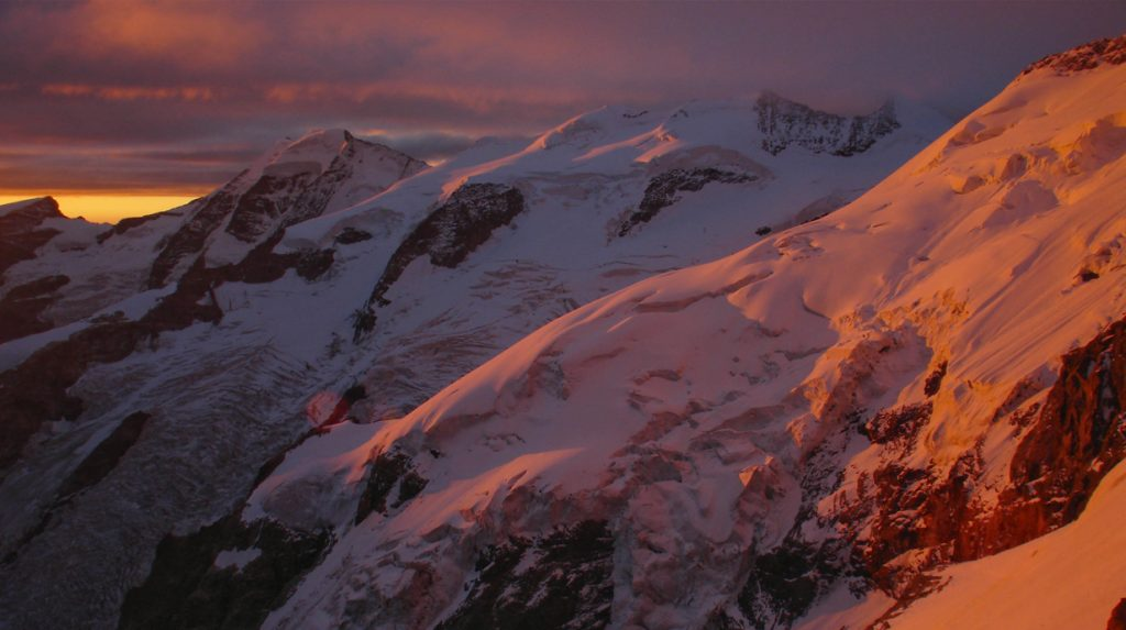 dawn on the bernina ski tour