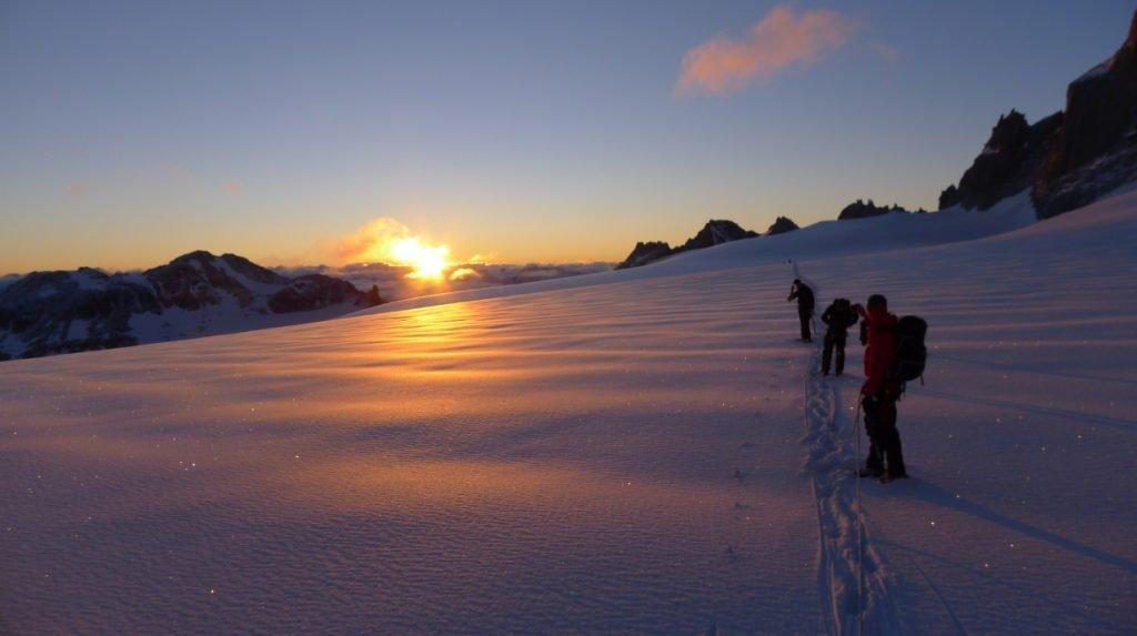 evening meal in an alpine hut - summer haute route trek