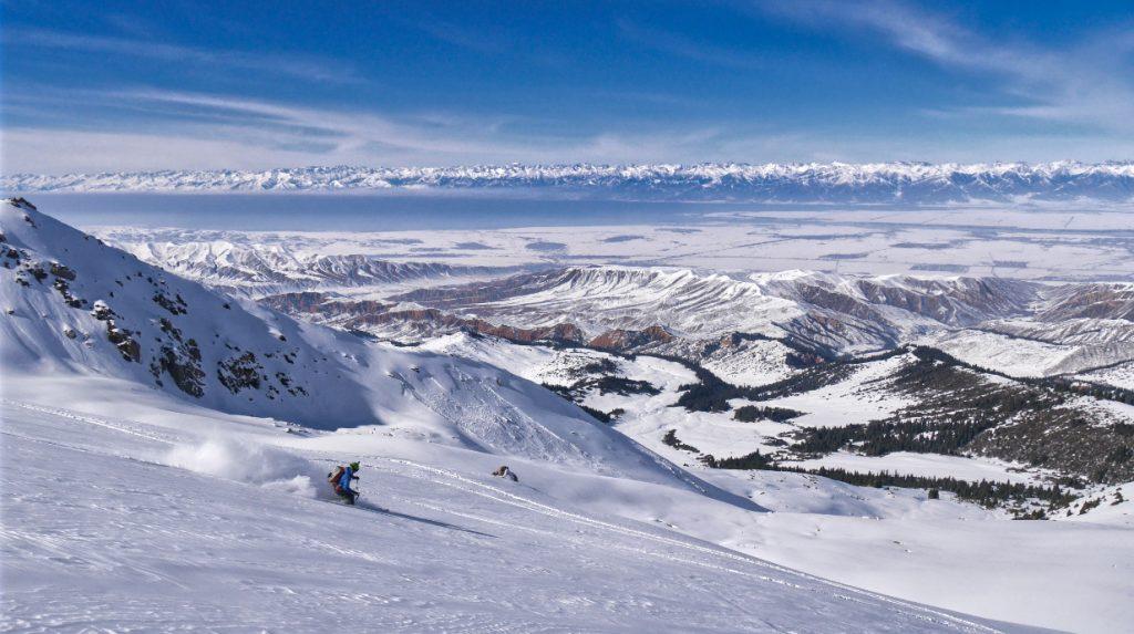 Views over lake Issyk-Kul ski touring in Kyrgyzstan