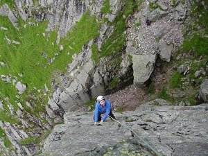 climbing at dow crag on a lake district rock climbing holiday