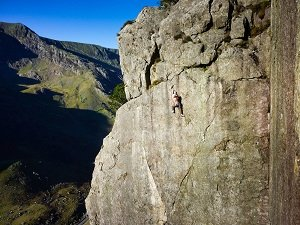 climbing left wall on dinas cromlech in lllanberis pass north wales
