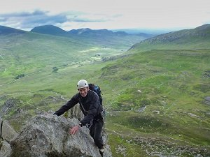 rock climbing on the east face of tryfan in north wales